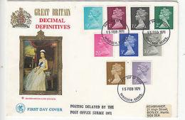 GB: Decimal Definitives FDC, Posting Delayed By The PO Strike, 15 February 1971 - Machins