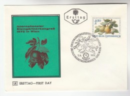 1974 AUSTRIA FDC  GARDEN SHOW PEAR FRUIT Stamps SPECIAL Pmk Cover Flower Food - Fruits