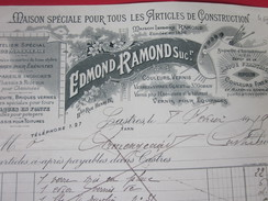 Castres Tarn-1919-Edmond Ramond- Articles De Construction-peinture-marbres-- Facture & Doc Commercial Illustré-Réalmont - Otros