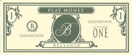 Bellagio Casino Las Vegas, NV Play Day Oct 1998 - $1 Play Money Bill - Casino Cards