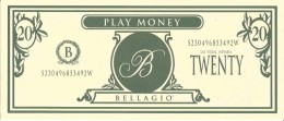 Bellagio Casino Las Vegas, NV Play Day Oct 1998 - $20 Play Money Bill - Casino Cards