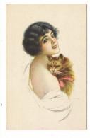 FEMME ( Coiffure Années 20 ) + CHAT  ( Chatte Avec Ruban Rose ) /  Edition Italienne  ( N° 4395 , Du 13-6-1918 ) - Chats