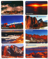 KYRGYZSTAN: Set Of 8 Used Phone Cards W/chip * ISSYK-KUL LAKE * MAOUNTAINS * SET#1 RARE - Mountains