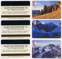 KYRGYZSTAN: 1st Set Of 3 Phone Cards W/ Magnetic Strip MOUNTAINS NOMAD KYRGYZTELECOM - Mountains
