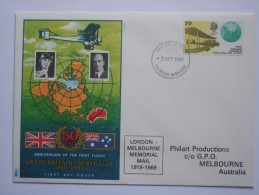 GB 1969 COMMEMORATIVE COVER 50 YEARS FIRST FLIGHT GB TO AUSTRALIA X 2 SCANS - Briefe U. Dokumente