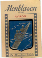 ECUSSON AVIRON CANOE CAYAK VERS 1950 SUR SON CARTON D ORGINE FABRICATION CUIR SUR FEUTRINE MAISON SAUNIERE A ESPERAZA - Roeisport