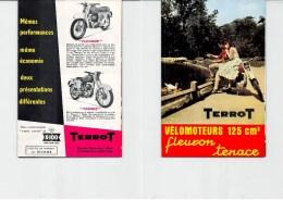 """Publicité TERROT DIJON Vélomoteur 125 Cm3 """"Fleuron Tenace"""" 2 L Aux 100 Km, 95 Km/h Feuillet Double. 4 Scans - Motos"""