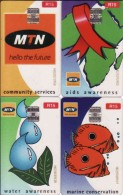 Afrique Du Sud,SOUTH AFRICA, Set 4 MTN Transparent R 15 Cards, Fish, Marine Concervation, AIDS, SIDA, Map - Afrique Du Sud