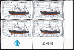 Coin Daté Neuf** Du 22/08/88 - Flotte De St-Pierre Et Miquelon Chalutier Le Marmouset - N° 493 (Yvert) - 1988 - St.Pierre & Miquelon