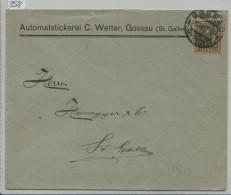 Pro Juventute 1917 J8 Unterwaldnerin - Von Gossau Nach St. Gallen - Lettres & Documents