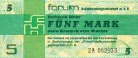 Deutschland, Germany, FORUMSCHECK Der DDR  Zu  5 Mark, ( Serie ZA ) ( Ersatznote, Replacement ) 1979,  UNC ! - [14] Forum-Aussenhandelsgesellschaft MBH