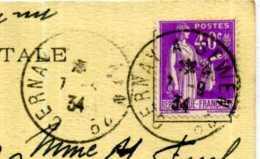 CACHET FERROVIAIRE / TRAIN CERNAY A SEWEN 2 / 1934 /  SUR CARTE DE SEWEN  LAC D ALFELD / - Railway Post