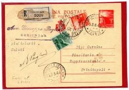 CERIGNOLA Foggia 1946 - CARTOLINA POSTALE DEMOCRATICA Lire 3 CON FRANCOBOLLI AGGIUNTI / RACCOMANDATA  - C009 - 1946-60: Storia Postale