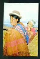 BOLIVIA  -  Cholita Carrying Baby  Unused Postcard - Bolivia