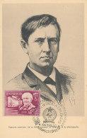 D23917 CARTE MAXIMUM CARD RR 1949 HUNGARY - THOMAS EDISON INVENTOR ELECTRIC LIGHT - SOUND RECORDING CP ORIGINAL - Explorateurs