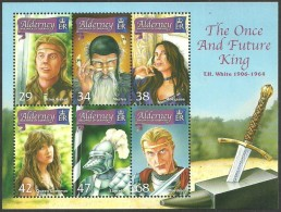ALDERNEY GUERNSEY 2005 THE ONCE & FUTURE KING MILITARY MAGIC ARTHUR M/SHEET MNH - Alderney