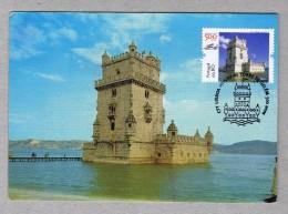 BELEM Tower Monuments Lisboa Portugal Discoveries TRIPLE Carte Maximum Cards Mc596 - Monuments