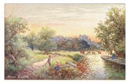 RB 1092 - Early Art Artist Signed Postcard - Dover Castle & Rural Scene - Kent - Dover
