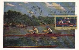 D23953 CARTE MAXIMUM CARD 1967 USA - ROWING BIGLEN BROTHERS BY THOMAS EAKINS CP ORIGINAL - Art