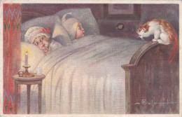 Kinder Im Bett (Katze Chat  Cats  Ich Möchte Auch Unter Die Decke)   Signiert E. Colombo - Colombo, E.