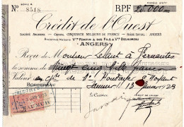Timbre Taxe Rose Paiements 20c Pour 100F Bordereau Crédit De L'ouest 1923 Fortin Delhumeau Angers M. Lelaut Saumur - Vieux Papiers