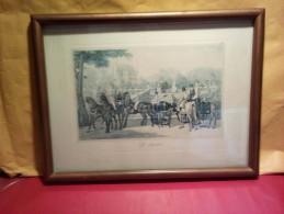 """SOLDE TRÈS BELLE ANCIENNE GRAVURE XIX Siècle Lithographie ?  """" LE DÉPART """"  Voir Photos - Engravings"""
