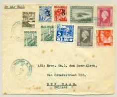 Nederlands Indië - 1948 - Marine Postkantoor Batavia - Groen / Rond Op LP-brief Naar Den Haag - Nederlands-Indië