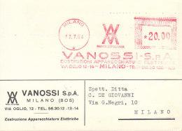 1954 MILANO VANOSSI APPARECCHIATURE ELETTRICHE - Affrancature Meccaniche Rosse (EMA)