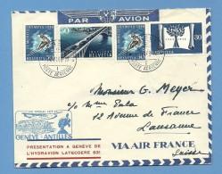 Schweiz Genève 14.6.1948 Mit 4 X 30Rp Auf PA Vorstellung Laecoere 631 (Grösser Als DO-X) Flugpost Brief Genève-Antilles - Switzerland