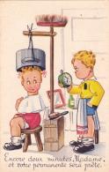 CPSM Coiffeur Barbier Enfants Permanente Humour Fantaisie Illustrateur - Métiers