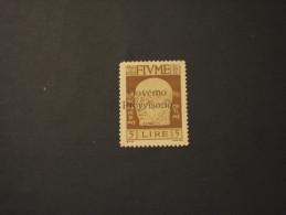 FIUME - 1921 GOVERNO PROVVISORIO L. 5, Soprast.(qualità Discreta Per Gomma E Denti) -NUOVO(+) - Bezetting 1° Wereldoorlog