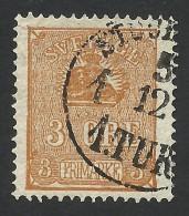 Sweden, 3 O. 1862, Sc # 13, Mi # 14, Used. - Sweden