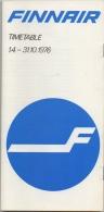 Horaire/Timetable. Finnair. 1976. - Timetables