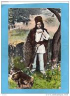 ROUMANIE-Rumanischer Kirt-une Jeune Bergère  Avec Son Chien--gros Plan-a Voyagé En 1919 - Roumanie