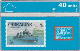 Gibraltar, GIB-25, USS Gleaves, 40u. Ship, 2 Scans.