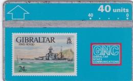 Gibraltar, GIB-26, HMS Hood, 40u. Ship, 2 Scans.