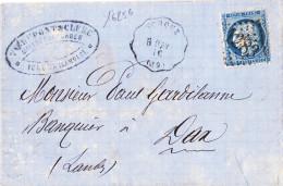 16256# CERES LETTRE Datée Des FORGES D' YCHOUX Obl YCHOUX B. BAY 1872 CONVOYEUR STATION BORDEAUX BAYONNE LANDES - Marcophilie (Lettres)