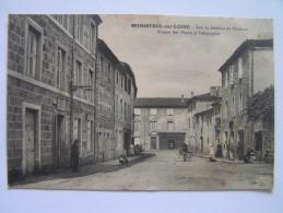 Cpa, Très Belle Vue Animée, Haute Loire, Monistrol Sur Loire, Rue Du Général Chabron, Bureau Des Postes Et Télégraphes - Monistrol Sur Loire