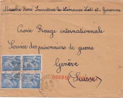 LOT ET GARONNE - SAUVETERRE LA LEMANCE - 22-11-1944 - IRIS 1F BLEU X 4 SUR LETTRE POUR LA CROIX ROUGE SERVICE DES PRISON - Postmark Collection (Covers)