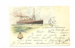 "Paquebot "" NORMANNIA""  Cachet A Bord Des Schnelldampfers - Hamburg- Amerika Linie . - Paquebots"