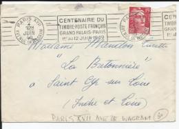 FRANCE - TIMBRE MARIANNE GANDON SUR ENVELOPPE CENTENAIRE TIMBRE POSTE FRANCAIS ET CAD AVENUE DE WAGRAM 02/06/1949 - 1945-54 Marianne De Gandon
