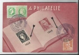 FRANCE - 5 TIMBRES SUR CARTE POSTALE CENTENAIRE DU TIMBRE POSTE FRANCAIS AVEC CAD MARSEILLE DU 10/01/1949 - Brieven En Documenten