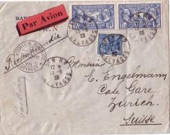 CALVADOS - CAEN RP - 13-6-1929 - LETTRE PAR AVION POUR LA SUISSE - BEL AFFRANCHISSEMENT A 3F50. - Postmark Collection (Covers)