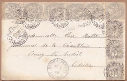 16264# BLANC N° 107 * 10 CARTE POSTALE ST LAURENT EN BRIONNAIS Obl ST BONNET DE JOUX SAONE ET LOIRE 1903 - Postmark Collection (Covers)