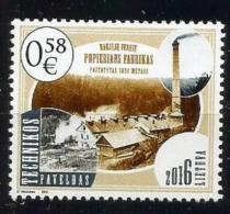 Litauen, 2016, 1214, 100. Technische Denkmäler: Papiermühle In Naujieji Verkiai, Vilnius  MNH **, - Lituania