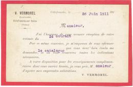 VILLEFRANCE SUR SAONE 1911 CONSTRUCTEUR VERMOREL POUR MANUFACTURE COMMUNEAU A BEAUVAIS OISE - Villefranche-sur-Saone