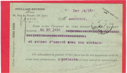 PARIS 1921 TANNEUR POULLAIN BEURIER 99 RUE DE FLANDRES PARIS 19 POUR MANUFACTURE COMMUNEAU A BEAUVAIS OISE - Arrondissement: 19