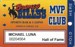Bronco Billy´s Casino Cripple Creek, CO - 7th Issue Hall Of Fame Slot Card - See Description & Scans! - Casino Cards