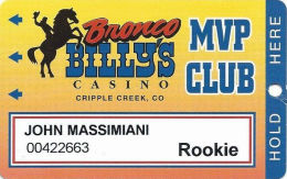 Bronco Billy´s Casino Cripple Creek, CO - 13th Issue Rookie Slot Card - See Description & Scans! - Casino Cards
