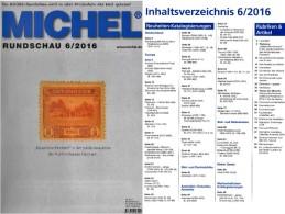 MICHEL Briefmarken Rundschau 6/2016 Neu 6€ New Stamps Of The World Catalogue/magacine Of Germany  ISBN 978-3-95402-600-5 - Zeitschriften: Abonnement